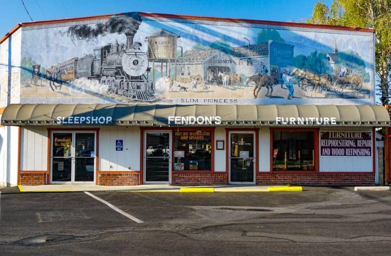 The Slim Princess Mural in downtown Bishop, CA