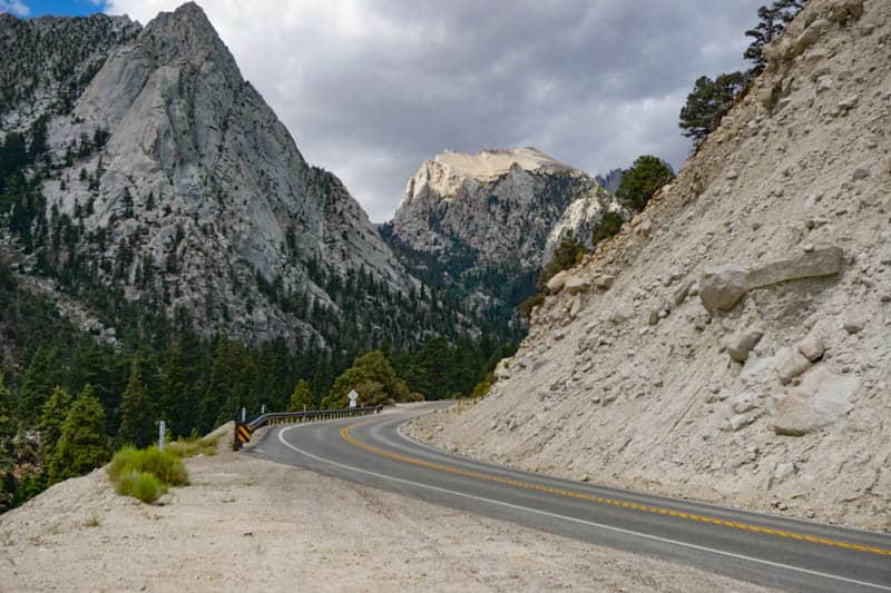 Looking back at the mountains from a pullout along Whitney Portal Road in California