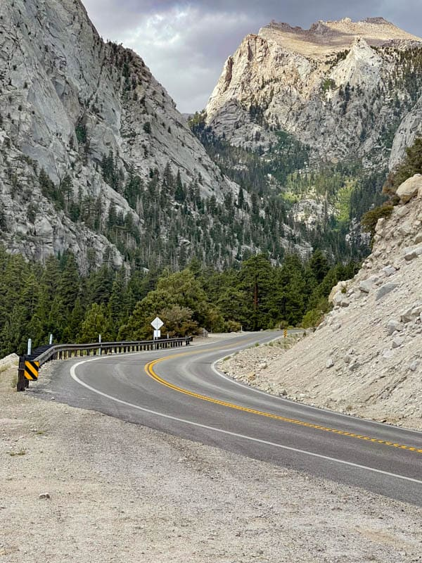 A view of Whitney Portal Road and the Sierra Nevada mountains