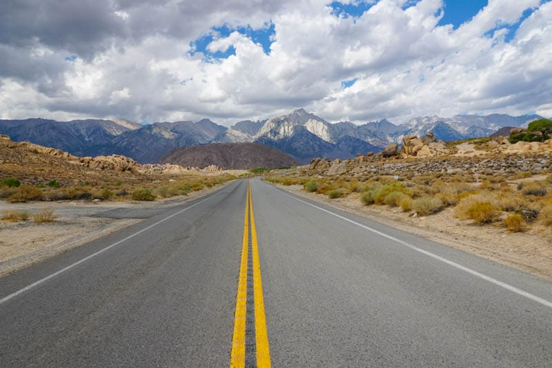 Whitney Portal Road in the summer