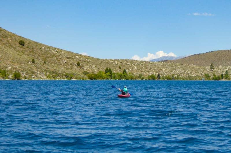 Kayaking or canoeing Convict Lake in California is fun!