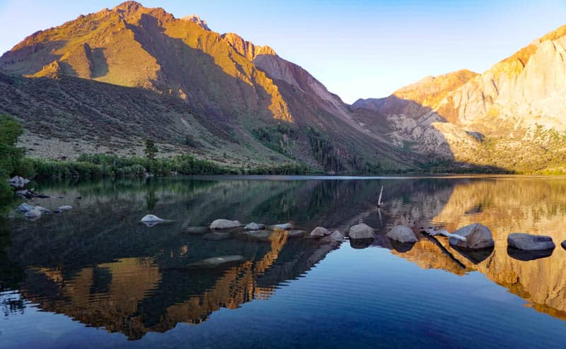 A view of Convict Lake in the morning