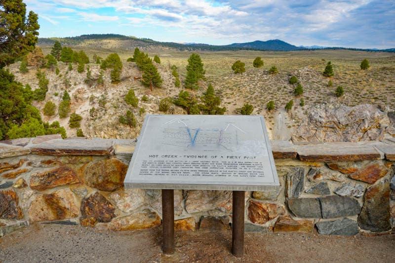 An interpretive sign at Hot Creek Geological Site in California