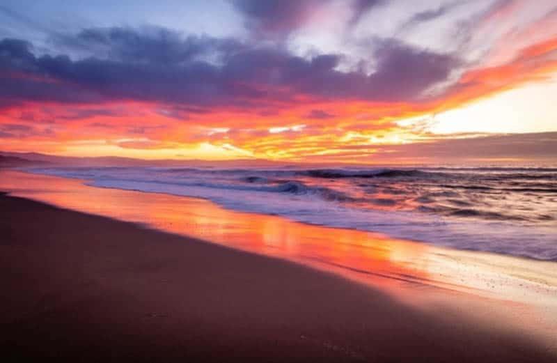 Beautiful sunset at Marina State Beach, California