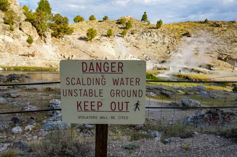 Warning Sign at Hot Creek Geological Site in California