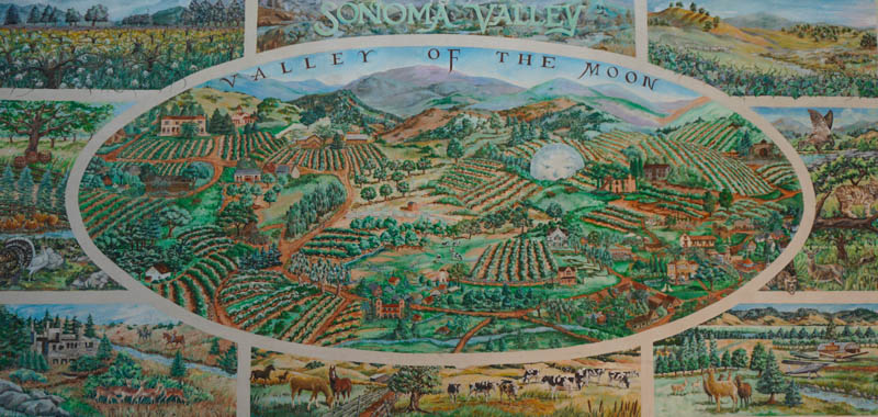 Valley of the Moon 1990 Mural by Claudia Wagar at Sonoma Plaza California