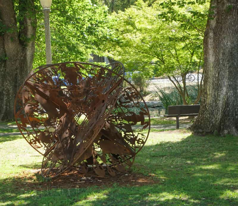 Sculpture on display at the plaza in Sonoma California