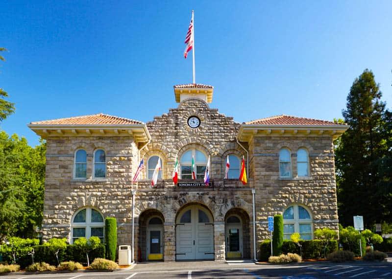 Sonoma City Hall in Sonoma Plaza, Sonoma, California