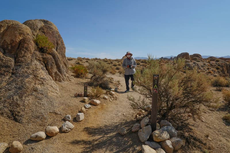 Mobius Arch Loop Trail is an exposed desert trail in the Alabama Hills