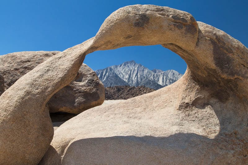 A view of Lone Pine Peak through the Mobius Arch in California