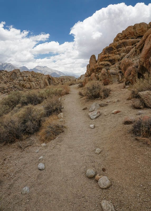 Mobius Arch Loop Trail on a summer morning in Lone Pine California