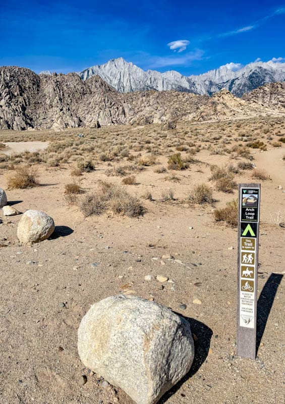 The western entrance to the Mobius Arch Loop in the Alabama Hills